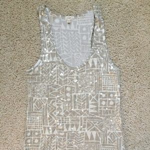 J. Crew Patterned Sequin Tank (XS)